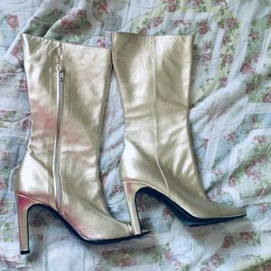 VALENTINO 100% Authentic gold leather heel boots